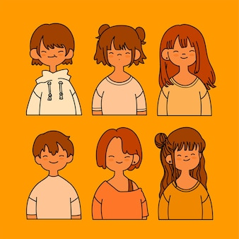 Collection of cute girl with boy isolated on yellow