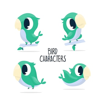 Collection cute green bird characters illustration