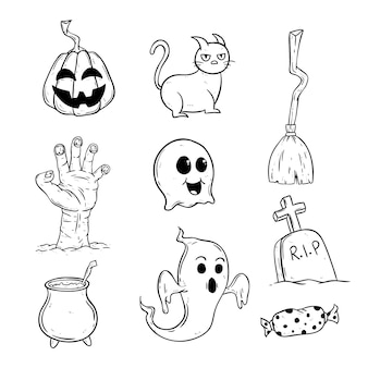 Collection of cute halloween icons with doodle style