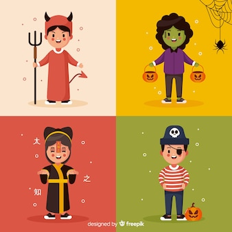Collection of cute halloween kids costumes on flat design