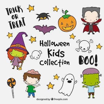 Collection of cute halloween kids