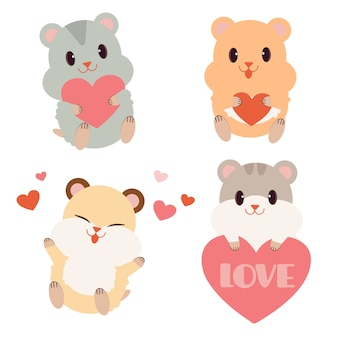 The collection of cute hamster with heart in flat vector style.