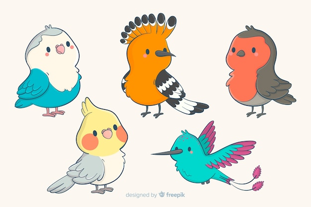 Collection of cute hand drawn birds