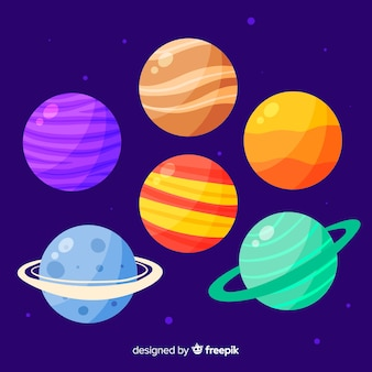 Collection of cute hand drawn planets