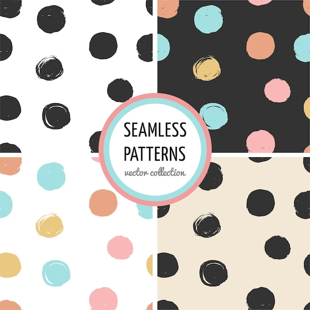 Collection of cute, hand drawn seamless pattern with dots