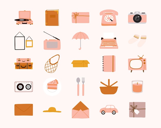 Collection of cute hand drawn vintage and retro doodle elements flat illustration