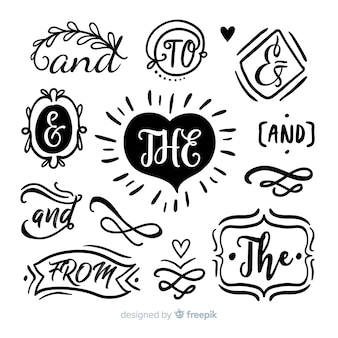 Collection of cute hand drawn wedding catchword