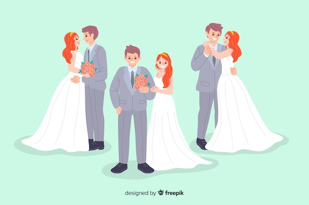 Collection of cute hand drawn wedding couple