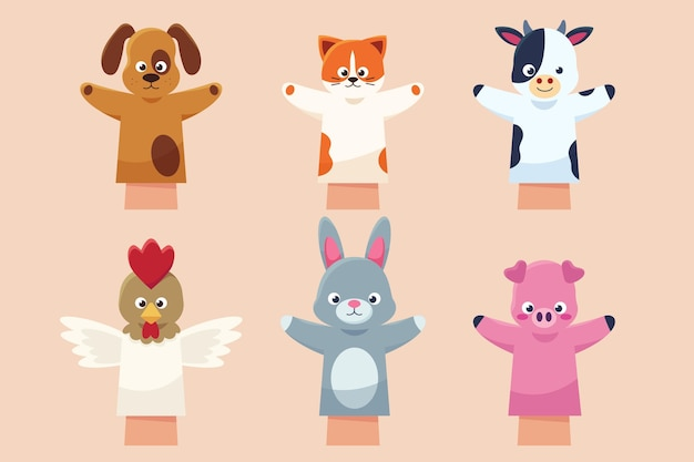 Collection of cute hand puppets for children