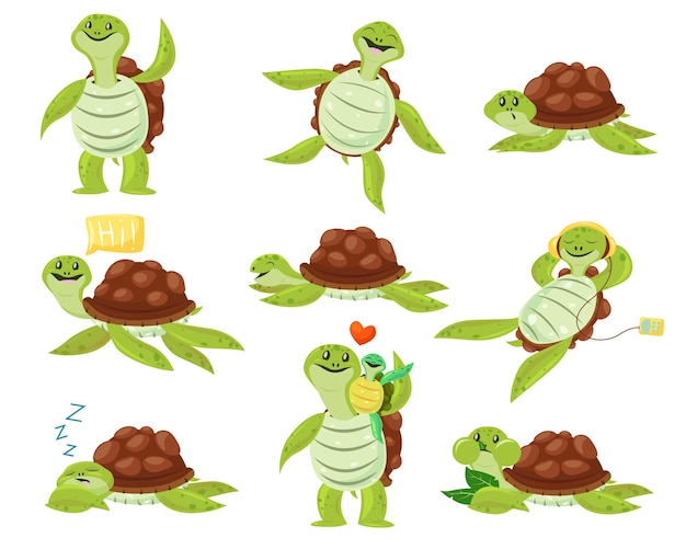 Collection of cute happy turtle set. funny cartoon character dancing, sleeping, eating, enjoying leisure.