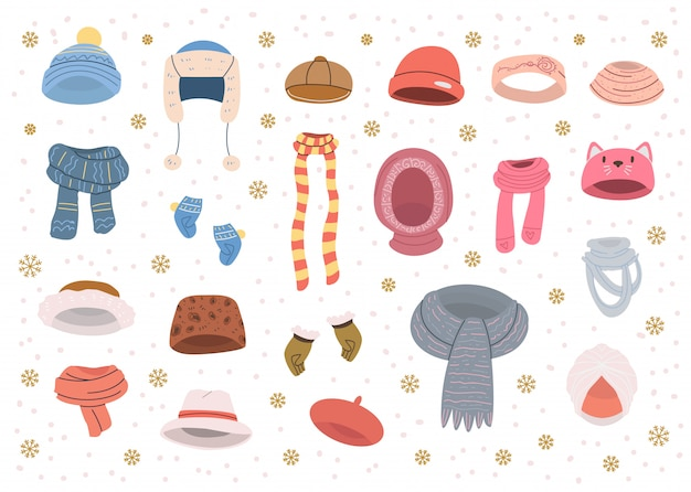 Collection of cute hats and scarves for cold winter weather