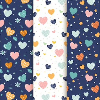 Collection of cute heart patterns