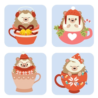The collection of cute hedgehog in cup in christmas theme set.