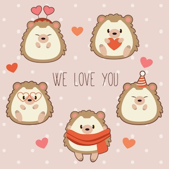 The collection of cute hedgehog with heart theme