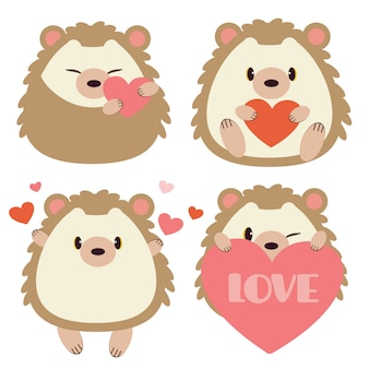 Collection of cute hedgehog with heart on white