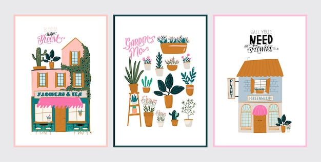Collection of cute house, shop, store, cafe and restaurant isolated on white background. motivational quote lettering. flat illustration in trendy scandinavian style. hand drawn. european city