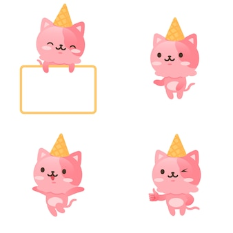 Collection of cute ice cream kitty mascot character