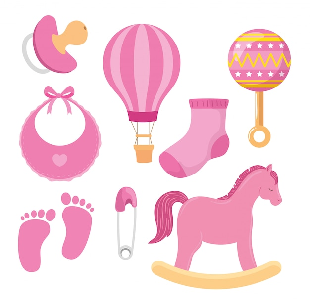 Collection of cute icons for little girl