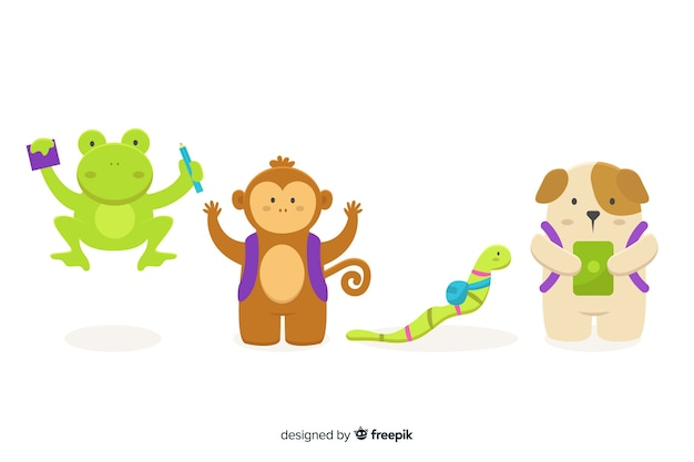 Collection of cute illustrated animals at school