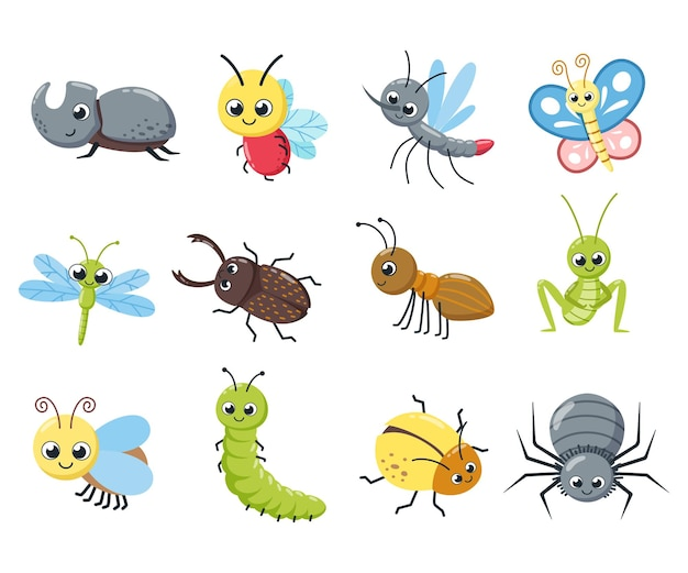A collection of cute insects. funny bugs, caterpillar, fly, bee, spider, mosquito. cartoon vector illustration.