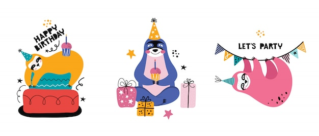 Коллекция милый ленивец каваи на вечеринке. мультипликационный медведь с подарками и другими праздничными элементами открытка или баннер на день рождения.