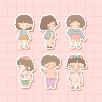 Collection of cute kid with sticker
