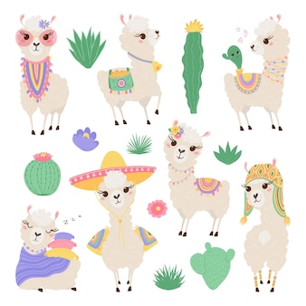 Collection of cute lamas and cacti in pastel colors. funny baby animals.