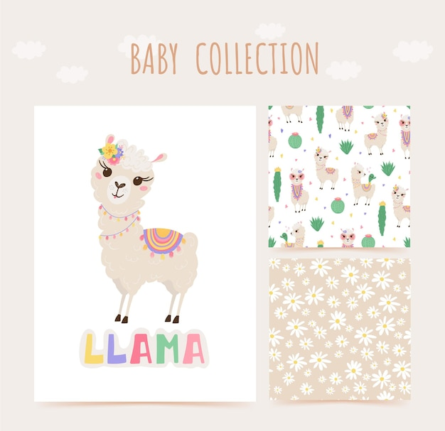 Collection of cute lamas and cacti in pastel colors. seamless pattern and print with baby animals.