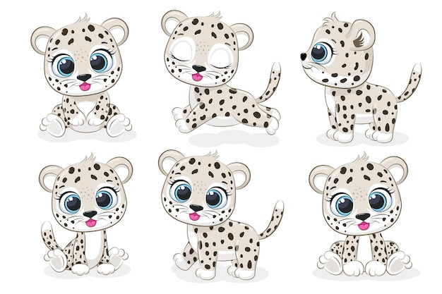 A collection of cute leopards. vector cartoon graphics.