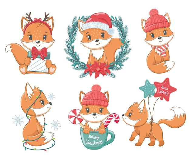 A collection of cute little foxes. new year and merry christmas concept. vector illustration of a cartoon.
