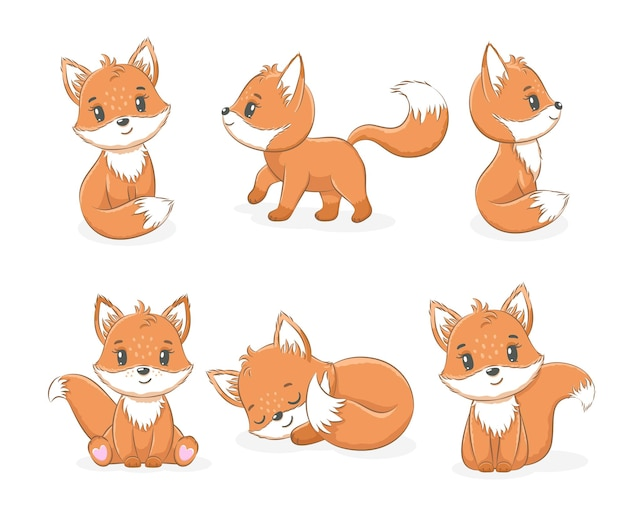 A collection of cute little foxes. vector illustration of a cartoon.