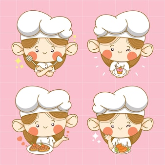 Collection of cute little girl chef cartoon character and logo illustration