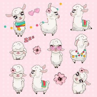 Collection cute llama alpaca vicuna set kawaii