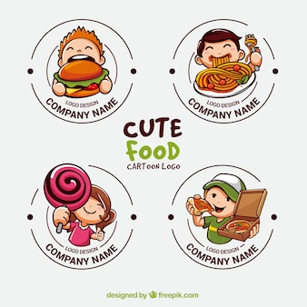 Collection of cute logos for food industry