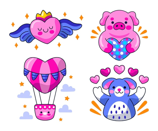 Collection of cute love stickers