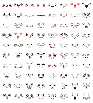 Collection of cute lovely kawaii eyes and mouths.