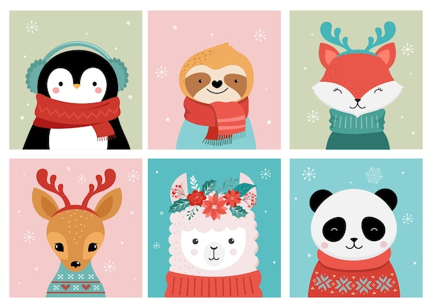 Collection of cute merry christmas s of panda, fox, llama, sloth, cat and dog