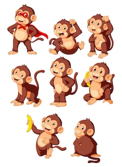 Collection cute monkey cartoon wearing superhero costume