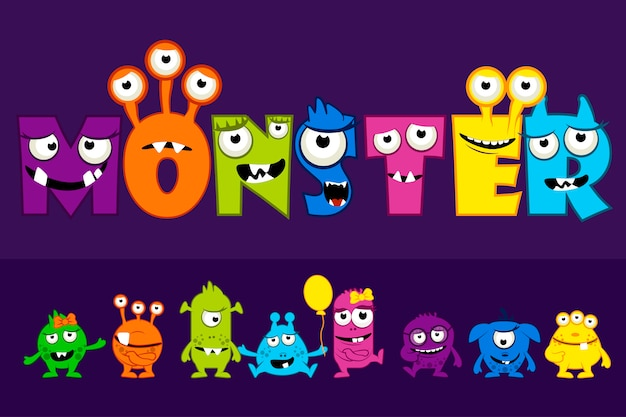 Collection of cute monsters, cartoon funny monster letter set