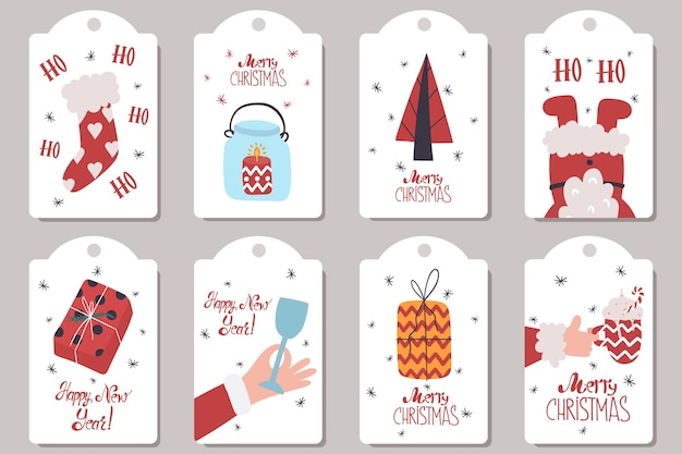 Collection of cute new years tags in cartoon style