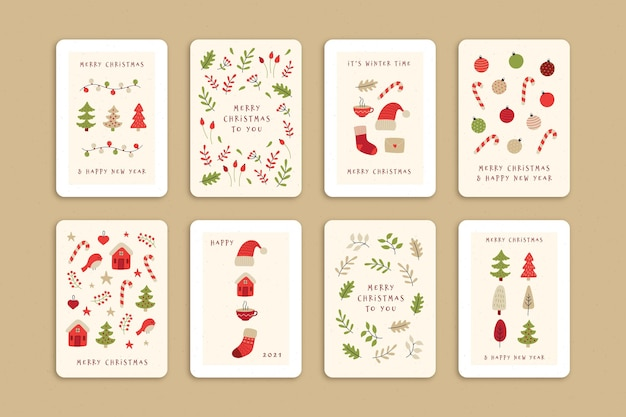 Collection of cute organic christmas cards