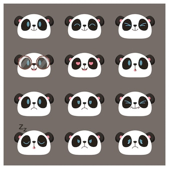 Collection of cute panda face emojis, emoticons