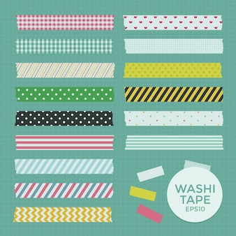 Collection of cute patterned washi tape strips
