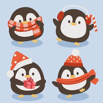 The collection of cute penguin in christmas theme.