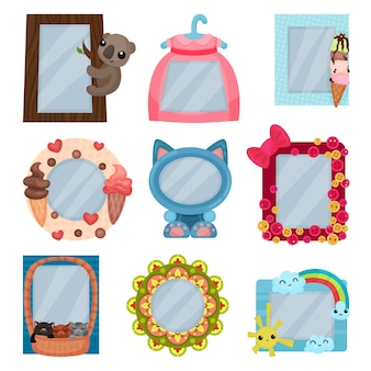 Collection of cute photo frames, album templates for kids with space for photo or text, card, picture frames  illustration on a white background