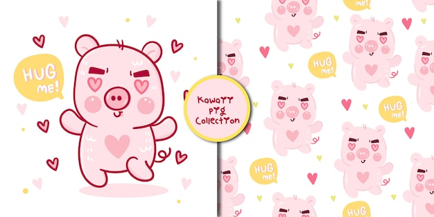 Collection cute pig vaector and seamless pattern cartoon