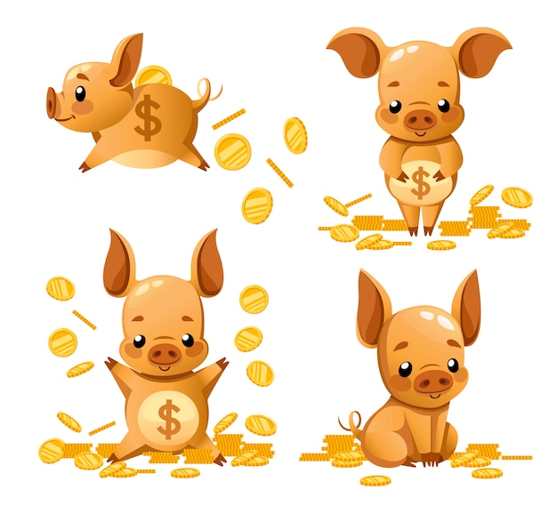 Collection of cute piggy bank. cartoon character . little pig play with gold coin. falling coins.   illustration  on white background