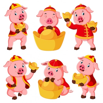 A collection of a cute pink pig uses the red costume for chinese new year