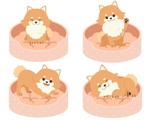 The collection of cute pomeranian on the mattress or bed of dog illustration