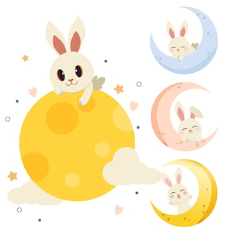 The collection of cute rabbit with the moon set in flat vector style.